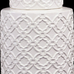 "Benzara - Cylindrical Shaped Ceramic Jar Embellished with Beautiful Motif in White - Beautiful and majestic, the Cylindrical Shaped Ceramic Jar Embellished with Beautiful Motif in White is the perfect decor item to adorn your dressing table, shelf or table. This elegantly designed ceramic jar features beautiful inlays, motifs and lines in a symmetrical design. Perfect for storing valuables, trinkets, jewelry, and other ancillaries, the ceramic jar is both a decor item and a storage unit. The dimensions of the Cylindrical Shaped Ceramic Jar Embellished with Beautiful Motif in White are 8""x8""x11""H. Ceramic; White; 8""x8""x11""H; Dimensions: 8""L x 8""W x 11""H"