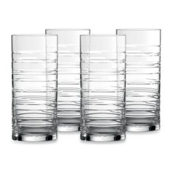 Royal Doulton - Royal Doulton Islington HighBall Glass (Set of 4) - This beautiful stemware from Royal Doulton features cut circular rings that harmonize perfectly with the Islington dinnerware.