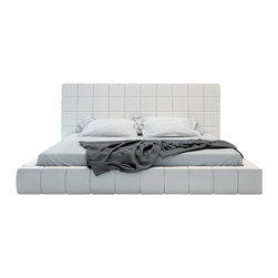 Modloft - Thompson Bed, White Leather, King - Elegance defines the Thompson bed with its square tufted upholstery and even symmetry. Bed is offered in either eco leather or luxurious tweed fabric. The mattress sits snuggly atop a solid pine-slat base for stylistic durability and added comfort. Platform height measures 11.5 inches (2 inch inset). Available in Eastern (Standard King) and Queen sizes. Available in white eco leather or beige Novatex fabric (made of poly/cotton/viscose/linen blend). Assembly required. Mattress not included. Imported.