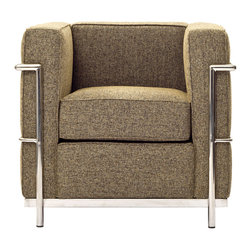 "LexMod - Charles Petite Wool Armchair in Oatmeal - Charles Petite Wool Armchair in Oatmeal - Urban life has always a quandary for designers. While the torrent of external stimuli surrounds, the designer is vested with the task of introducing calm to the scene. From out of the surging wave of progress, the most talented can fashion a forcefield of tranquility. Perhaps the most telling aspect of the Charles series is how it painted the future world of progress. The coming technological era, like the externalized tubular steel frame, was intended to support and assist human endeavor. While the aesthetic rationalism of the padded leather seats foretold a period that would try to make sense of this growth. The result is an iconic sofa series that became the first to develop a new plan for modern living. If previous generations were interested in leaving the countryside for the cities, today it is very much the opposite. If given the choice, the younger generations would rather live freely while firmly seated in the clamorous heart of urbanism. The Charles series is the preferred choice for reception areas, living rooms, hotels, resorts, restaurants and other lounge spaces. Set Includes: One - Le Corbusier LC2 Armchair in Woolen Mix Wool Upholstery, Stainless Steel Frame, Multi-Density Foam Cushions Overall Product Dimensions: 28""L x 30""W x 28""H Seat Dimensions: 21""L x 17""W x 17""HBACKrest Height: 10.5""H Armrest Height: 28""H - Mid Century Modern Furniture."