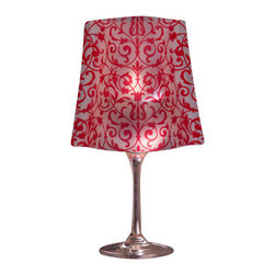 Modgy - Lumizu Wineglass Shade, ChaCha Red - Creating instant elegance is easy with LUMIZU Wine Glass Shades. These wine glass lamp shades are crafted from durable, frosted plastic and slide easily over water-filled wine glasses. No assembly required. LUMIZU Wine Glass Shades fit over any standard