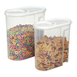 Store 'n Pour Dry Food Dispensers - These airtight containers keep cereal, grains and other dry goods fresh and crisp. The large-mouth design makes it easy to pour just the right amount with no spills.