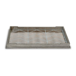 Port 68 - Delray Tray - Add some rustic glamour to your space with this versatile oversized Delray Tray. The tray features an antiqued silver leaf finish, reverse antiqued patina mirror in a chevron pattern and a velvet-lined bottom. Well-suited for a variety of home styles, this serving tray is versatile enough to go from coffee table decor to breakfast in bed and back again.