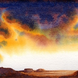 watercolor landscape 2 Artwork - Make room on your wall for this explosion of color in a sunset in the desert. Small but passionate, this original unframed watercolor is signed by Konnie Kim.