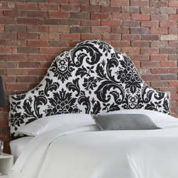 """Skyline Furniture - Fiorenza Upholstered Nail Button Headboard - Make a statement with your bedroom decor by adding this glamorous arch nail button headboard to your room. Featuring eye-catching, black and white floral upholstery and finished with a silver ornamental nail button trim. This headboard speaks fashion and is sure to be the focal point of any bedroom. Attaches to any standard bed frame. Features: -Handmade.-Made in the USA.-Spot clean only.-Hardware and instructions included.-Gloss Finish: No.-Frame Material: Pine wood.-Hardware Material: Steel.-Wall Mounted: Yes.-Reversible: No.-Media Outlet Hole: No.-Built In Outlets: No.-Hardware Finish: Black metal.-Finished Back: No.-Distressed: No.-Hidden Storage: No.-Freestanding: No.-Frame Included: No.-Drill Holes for Frame: Yes.-Collection: Fiorenza.-Commercial Use: No.-Recycled Content: No.Specifications: -EPP Compliant: No.-CPSIA or CPSC Compliant: Yes.-CARB Compliant: Yes.-JPMA Certified: No.-ASTM Certified: No.-ISTA 3A Certified: Yes.-PEFC Certified: No.-General Conformity Certificate: Yes.-Green Guard Certified: No.Dimensions: -Overall Product Weight (Size: California King): 40 lbs.-Overall Product Weight (Size: Full): 31 lbs.-Overall Product Weight (Size: King): 45 lbs.-Overall Product Weight (Size: Queen): 33 lbs.-Overall Product Weight (Size: Twin): 24 lbs.-Leg Height: 6"""".-Bottom of Headboard to Floor: 24"""".Assembly: -Assembly Required: Yes.-Tools Needed: Allen wrench, wrench.-Additional Parts Required: No.Warranty: -1 Year limited warranty, excludes fabric.-Product Warranty: 1 Year limited (Excludes fabric)."""