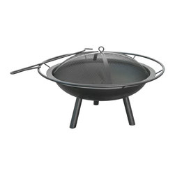 "Landmann - Halo Fire Pit with 28.5"" Steel Bowl, Ring & Poker - Constructed of sturdy steel and centered on three legs for stability, this fire pit is a charming addition to any outdoor gathering. With a full diameter handle for portability and a mesh cover and matching steel poker, it's easy to imagine guests settling in on a chilly night, enjoying the ambience of a cozy fire."