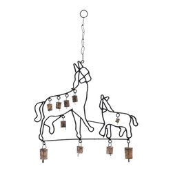 Durable Design Metal Horse Wind Chime - Bring a rustic charm into your home, office or any other space with the Metal Wind Chime with Horse Design. Flaunting a beautiful metal design that features prancing horses in their full glory, it speaks volumes of your rich and classy taste. These horses themselves look authentic with an almost handcrafted design. This wind chime features a series of bells attached to its metal frame that tinkle and emit a soft acoustic melody while swaying to the breeze. These mild, subtle sounds have a calming effect on the mind and help create a soothing environment. It is totally rustproof and withstands atmospheric effects like humidity, rain and intense heat. Due to the durable and strong metal links and chain, you can easily hang this wind chime up in your balcony or window and earn many generous glances and words of admiration.. It comes with a dimension: