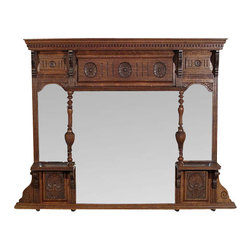 Antique English Solid Oak Overmantel w/ Mirrors - Country of Origin: England