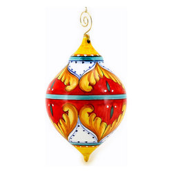 Artistica - Hand Made in Italy - CHRISTMAS ORNAMENT: Red Pia Design - Drop Ball Large - CHRISTMAS ORNAMENT