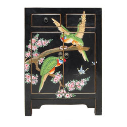 Golden Lotus - Chinese Black Base Color Birds Graphic End Table - This is a modern end table with black color base color and hand painted colorful birds graphic on the front.
