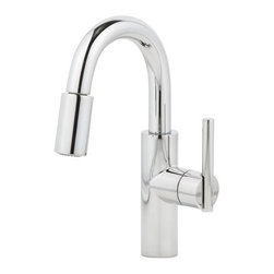 """Newport Brass - Newport Brass 1500-5203 East Linear Pullout Spray High-Arc Bar Faucet - Product Features:  Faucet body constructed of solid brass Covered under lifetime warranty to original owner Premier finishing process - finishes will resist corrosion and tarnishing through everyday use Single handle operation Pullout spray faucet head enhances faucets versatility High-arch gooseneck spout design provides optimal room under the faucet for any size task Coordinates seamlessly with a variety of kitchen products from the East Linear Collection ADA compliant – complies with the standards set forth by the Americans with Disabilities Act for kitchen faucets Low lead compliant – meeting federal and state regulations for lead content  Product Specifications:  Overall Height: 12-13/16"""" (measured from counter top to highest part of faucet) Spout Height: 6-3/16"""" (measured from counter top to spout outlet) Spout Reach: 6-9/16"""" (measured from center of faucet base to center of spout outlet) Number of Holes Required for Installation: 1 Flow Rate: 1.8 GPM (gallons-per-minute) 1 handle included with faucet Maximum Deck Thickness: 4"""" (cannot mount to thicker decks without use of extension kit) Designed for use with standard U.S. plumbing connections All hardware needed for mounting is included with faucet"""