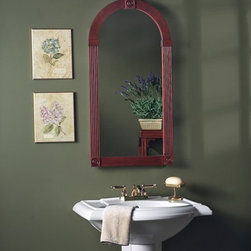 Lighthouse Distribution Corp - Broan-Nutone Baker Street Arch 17W x 34H in. Medicine Cabinet 830C Multicolor - - Shop for Bathroom Cabinets from Hayneedle.com! The Broan-Nutone Baker Street Arch Medicine Cabinet - 17W x 34H in.'s antique look and feel evoke a timeless quality. Its cherry frame is accented with Victorian molding at the top and sides. The door is mounted on piano hinges which allow it to open wider and it opens to reveal adjustable glass shelves. (The door opens to the right side only.) Dimensions: 17.44W x 6D x 33.88H inches. Recessed rough opening dimensions: 14W x 3.5D x 24H inches.About Broan-NuToneBroan-NuTone has been leading the industry since 1932 in producing innovative ventilation products and built-in convenience products all backed by superior customer service. Today they're headquartered in Hartford Wisconsin employing more than 3200 people in eight countries. They've become North America's largest producer of medicine cabinets ironing centers door chimes and they're the industry leader for range hoods bath and ventilation fans and heater/fan/light combination units. They are proud that more than 80 percent of their products sold in the United States are designed and manufactured in the U.S. with U.S. and imported parts. Broan-NuTone is dedicated to providing revolutionary products to improve the indoor environment of your home in ways that also help preserve the outdoor environment.