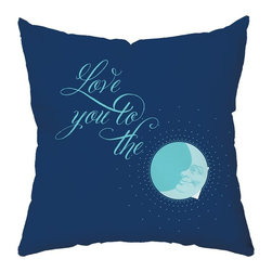 Checkerboard Lifestyle - To the Moon Throw Pillow Multicolor - PIL-DCR-Q - Shop for Pillows from Hayneedle.com! Let them know how you feel with the To the Moon Throw Pillow. Dreamy shades of blue and a moon design make this soft polyester pillow a sweet token. It reverses to a polka dot pattern for two looks in one.