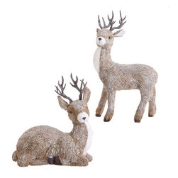 Christmas Deer (Set of 2) - This set of 2 lifelike deer are the perfect addition to your holiday home decor. Place at the base of your tree for a real winter outdoors feel.