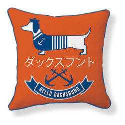 "Naked Decor - Hello Dachshund Sailor Pillow - Features: -Material: 100% Cotton canvas. -Zipper closure / poly fill insert. -Hand silk screened. -Hand / machine cold wash. -Made in the USA. Dimensions: -18"" H x 18"" W x 4"" D, 2 lbs."