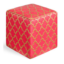 Fab Habitat - Tangier - Pinkberry & Bronze Cube - Moroccan-inspired geometrics never looked so chic than as the posh pattern for this modern cube. Artisan crafted by hand from recycled materials, this stylish cube comes in a variety of colors and can work as an ottoman in your living room or a stool in your vanity area.