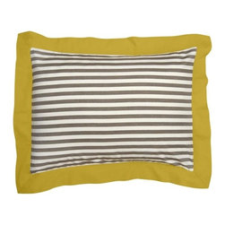 "DwellStudio Home Draper Stripe Ash Tailored Pillow Sham Set - I've been loving the combination of charcoal and mustard. This would look great in a master bedroom or a ""big boy"" room."
