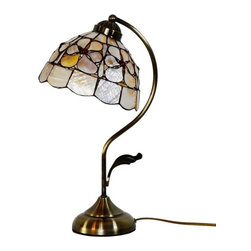 ParrotUncle - Sea Shell Tiffany Iron Arc Arm Table Lamp - There is no easier way to add functional light to your home while adding an artistic touch than with these Sea Shell Tiffany Arc Arm Style Table Lamp. Simply plug one in and place it on an end table, desk, or wherever you like. Even when not being used the bright colors in the glass will add a special touch that no ordinary lamp can achieve.
