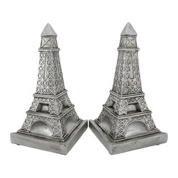 Decorative Metallic Silver Eiffel Tower Bookends - This pair of decorative bookends is a wonderful accent to the home of the worldly traveler, and it is perfect for rooms with Parisian themed decor. Made of cold cast resin, they measure 9 1/4 inches tall, 6 3/4 inches long, and 3 3/4 inches wide. They have a metallic silver finish, and a triangular shape. These bookends look great on shelves, bookcase, table, or desks anywhere in your home or office.