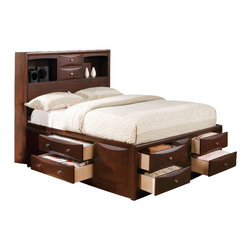 ACME Furniture - Acme Manhattan California King Storage Bed in Espresso - Great for smaller spaces or rooms that need added storage, this Manhattan Storage Bed in Espresso by Acme Furniture has many drawers that provide more than enough storage space that is excellent for blankets, clothes or shoes. Four side drawers are combined with four drawers in the footboard for abundant under bed storage. All drawer handles feature brushed nickel hardware with shaped drawer face.