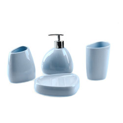 Be Clean, Bathroom Set Of 4 Item, Blue - A set of 4 item where you have a small soap dispenser, a toothbrush holder, a small glass and a soap holder. Made in a hard material, you won't broke it easily. Possible in 4 differents colors, like blue, purple, red and yellow. A clean way to show some style in the bathroom.
