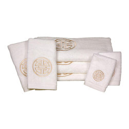 Oriental Furniture - Shou Long Life Bath Set - 7 Piece - White - This 7 piece luxury bath towel set features an embroidered long life symbol design. These towels are made of extraordinarily plush Turkish grown ring spun cotton with exceptionally fine high density embroidery. Set includes the following:=