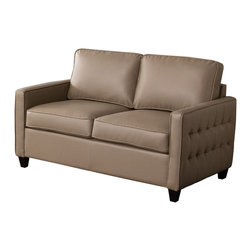 Diamond Sofa - Tanner Taupe Blended Leather Loveseat - Provide a comforting and inviting area for relaxing with the low profile styling and tufted outside panel design of this love seat that offers the look you have always wanted.