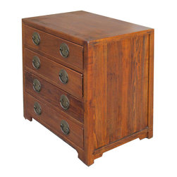 Golden Lotus - Chinese Solid Elm Wood Four Drawers Dresser Side Table Cabinet - Look at this Chinese antique four drawers cabinet which is made of solid elm wood.   It could be also used as dresser, side table or sideboard.