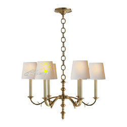 Anrique 6/8 Fabric shades Copper Chandelier - Anrique 6/8 Fabric shades Copper Chandelier