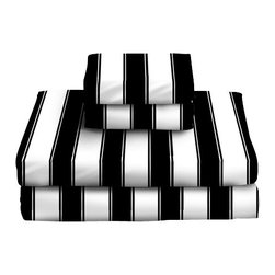 Sin in Linen - Black/White Stripe Sheet Set - This classic black and white stripe bedding is a great bedroom focal piece with its large graphic stripes. Includes 1 fitted sheet, 1 flat sheet and 1 pillowcase.