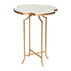 Kathy Kuo Home - Gillian Hollywood Notched Corner Marble Gold Leaf Side Table - Set of 2 - This unexpected, elegant marble side table is exquisitely shaped and styled for entertaining. Although small in stature, this petite piece is big on style. An antique gold finished base contrasts with the four leaf sculpted travertine top.