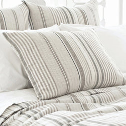 Pine Cone Hill - PCH Gradation Linen Pillow Sham - PCH delivers a preppy yet easy-going accent with the striped Gradation pillow sham. The bed linen's alternating neutral lines lend a touch of modern style. Available in standard and euro; 100% linen; Slate, dune, ivory and sand; Tie closure; Designed by Pine Cone Hill, an Annie Selke company; Machine wash
