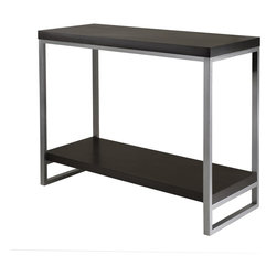"Winsome Wood - Winsome Wood Jared Accent Table X-14439 - Jared line of contemporary occasional tables is made with pewter color enamel finished metal tube frames and black wood tops.  The Console/Hall Table has a wooden bottom shelf for display storage. The top shelf at 30""high is great for floral, photo, and art display. Overall dimensions: 40""L x 15.98""D x 30""H.   Easily assembled."