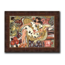 """Christina Hankins - Vino 22 x 28 Print - """"Vino"""" is a whimsicle canvas giclee by Christina Hankins. We present this to you in a dark Brazilian panel frame with raised back and lip. This makes for an overall framed size of 22 x 28."""
