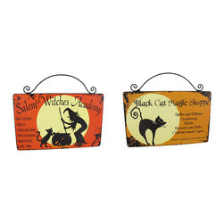 Pair of Halloween Themed Magic Shoppe and Witches Academy Wall Plaques - These adorable wall plaques are a wonderful addition to your Halloween decor! One of them turns your house into the `Black Cat Magic Shoppe,` advertising some of the magical things you may have for sale and special hours (evenings until dawn, of course!) The other sign advertises the classes you can take at the Salem Witches Academy, complete with a full moon, bubbling cauldron, black cat and witch logo. Each one is made of wood, and measures 10 inches long and 8 1/2 inches tall, including the wire hanger.