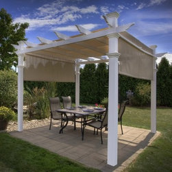 New England Arbors White Vinyl Malibu Pergola - Enjoy the ambiance of a traditional pergola with the added bonus of tangible shade thanks to the New England Arbors White Vinyl Malibu Pergola. The vinyl pergola frame is molded from premium, hi-grade polymers around traditional structural elements to create the look of real wood with none of the maintenance. What you get is a maintenance-free personal sanctuary. Never sand, paint or stain this material and enjoy the fact that it will never fade, yellow, warp, or crack. All it needs is an occasional splash from the garden hose to keep it clean. What's extra nice about this pergola is that includes a canvas shade to offer real protection from the side. Able to slide from end to end, you can lower the shade throughout the day as the sun moves. The pergola is backed with a 20-year warranty and the canvas shade has a 2-year warranty. The Malibu Pergola requires a drill, level, ladder, measuring tape, and two people to assemble. For installation on a wood deck or concrete patio, the Bolt Down Bracket System (sold separately) is recommended. For an in-ground installation, you can extend the posts with pressure treated lumber wood inserts purchased from your local hardware store. Detailed instructions give you all the information you need to install and mount your pergola.About New England ArborsThe world's leading manufacturer of premium vinyl arbor kits, New England Arbors was founded in a simple barn in the late 1990's. There the founders began replicating the beauty of New England design with simple, low-maintenance vinyl materials. The business has grown since then, now supplying arbors and trellises all over America and beyond. With headquarters in Port Huron, Mich., and Sarnia, Ontario in Canada, New England Arbors is dedicated to the creation of the most attractive and durable vinyl arbors possible.