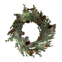 The Firefly Garden - Frosted Pine - Our Frosted Pine wreath shimmers with holiday spirit. Like snow touched pine branches in a winter forest, this 18″ piece makes a lovely door or window accent, as well as a table centerpiece for celebrations.