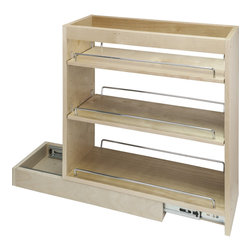 Hardware Resources - Base Cabinet Pull Out.  10 x 21 x 24 - Base Cabinet Pull Out.  10 x 21 x 24.  Featuring 100# full extension ball bearing slides  adjustable shelves  and clear UV finish.  Species:  Hard Maple.  Ships assembled with removeable shelves and shelf supports.