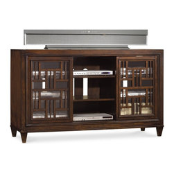 "Hooker Furniture - Ludlow 60"" Entertainment Console - White glove, in-home delivery included!  With a metropolitan and modern attitude, Ludlow is distinguished by an intriguing walnut veneer story and hip fretwork detail.  Two sliding glass doors with fretwork and two adjustable shelves behind each, two adjustable shelves in center section, one three plug outlet.  Accommodates most 60"" televisions."