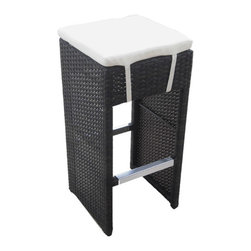 "Vandue - Hampton Woven Wicker Outdoor Chair/Bar Stool - Espresso - Enhance your outdoor living area with the Hampton Woven Wicker bar chair. With an new woven technique design, the Hampton barstool adds a dash of luxury with its intricate pattern. Each stool is hand crafted with rattan strands wrapped around a solid aluminum frame. 14.5"" x 14.5"" x 30"". Espresso Brown finish."
