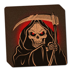 """Made on Terra - Grim Reaper of Death Thin Cork Coaster Set of 4 - You're just cleaning up after your epic party when you realize it... something's different. Unlike all those other times, you're not mopping up cup condensation from your counters and tables. This time, everyone used a coaster. Everyone. Maybe it's because you handed out a coaster with every glass. No. You've tried that before. No, this time it's because of the actual coasters. You found the cutest Made On Terra printed cork coasters. You love that everyone commented on how unique they were,  from the light-weight, thin cork material to the printing that creates a cool and subtle effect. Plus, they're really absorbent, but dry quickly. And they're made from an eco-friendly, sustainable resource, so that makes you feel pretty great, too. Choose from Made on Terra's many fabulous cork coasters. Measures 4"""" x 4"""" x 1/8"""". Made of thin cork. Super cute and nicely absorbent. Sold in sets of four."""