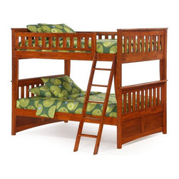 Night and Day - Ginger Cherry Full Over Full Bunk Bed - ND212 - Shop for Bunk Beds from Hayneedle.com! If space is at a premium take advantage of the vertical! The Ginger Cherry Full Over Full Bunk Bed holds plenty of sleepy people without taking up a big footprint in the room. That's why bunk beds are famous right? Thanks to a full-over-full design this bed is roomy and comfortable. It's durably built too with solid wood construction and finished edges for safety and peace of mind. Mission-style design elements come through in the slatted guard rails headboards and footboards all finished in warm cherry. This bed comes with everything you need for quick and easy assembly including two sets of slats and all the required hardware. The ladder is included too. But wait - there's more. If you need extra storage or even more sleeping space take a look at the available drawers and/ or trundle bed. The trundle is also built of solid wood and has durable slats that support a twin-size mattress. It rolls easily into the open space beneath the bottom bunk when not in use. Or purchase a set of two rolling storage drawers and turn that open space into convenient clutter storage. The drawers have paneled fronts for style and durable casters for easy operation. This bunk bed comes with a limited 10-year manufacturer's warranty. Use only mattresses that are 74-75 inches long and 53-54 inches wide (full size). Mattress thickness should not exceed 6 inches. The optional trundle measures approximately 75.5L x 40.375W x 13.625H inches. The drawers each measure approximately 37.875L x 20.625W x 13.625H inches. Please note: CPSC recommends the tops of the guardrails must be no less than 5 inches above the top of the mattress and that top bunks not be used for children under 6 years of age. About Night and Day FurnitureOne of the fastest-growing futon sellers in America Night and Day Furniture offers a broad range of stylish and well-made futon and bedroom collections. Their goal is to p