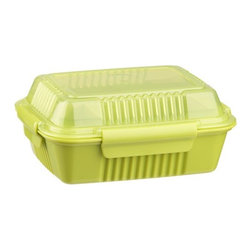 Large Green To-Go Container - Modeled after a restaurant-style takeout box, reusable container is insulated, leakproof and perfectly sized for leftovers or portable meals.