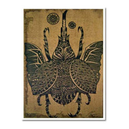 Oriental-Decor - Japanese Beetle Japanese Print - This interesting Japanese print of a beetle is a detailed impression of that fascinating insect. Mount this Asian print in home or office for a groovy decorative effect.