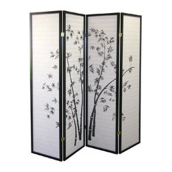 ORE International - 4-Panel Paper & Wood Folding Screen w Bamboo - 4 Paper panels. Bamboo pattern. Folds flat for easy storage. Black wooden frame. Black and White finish. 60 in. L x 10 in. W x 70 in. H (15 lbs.)Create privacy add texture or define a space with this handsome room divider.  Adds a touch of elegance to this folding room divider, a stunning way to bring an element of Asian inspiration into any decor.