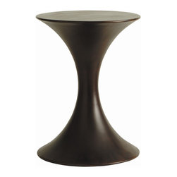 Arteriors - Black Accent Table - An hourglass figure is always admired, and this streamlined table is no exception. Cast in resin with a dark walnut wood finish, it will make a functional, beautiful accent wherever you choose to sit it.