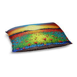 DiaNoche Designs - Dog Pet Bed Fleece - Sunburst Poppies - The comfort of your pet is of the utmost importance. But shouldn't their furniture match yours? DiaNoche Designs gives your pet some clout with our stable of international artists designs on their new bed.