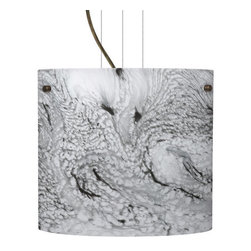 Besa Lighting - Besa Lighting 1KG-4184MG-LED Tamburo 1 Light LED Cable-Hung Pendant - Tamburo is a classic open-ended cylinder of handcrafted glass, a shape that will stand the test of time. Our Marble Grigio glass is a bright white cased glass, with inner opal and a glossy finish. The white color is accented by flowing marbleized black lines, and nestled between the inner opal and outer clear layers. When lit the glass is vitalizing as well as stylish, that adds appeal to any environment. This blown glass is handcrafted by a skilled artisan, utilizing century-old techniques passed down from generation to generation. Each piece of this decor has its own artistic nature that can be individually appreciated. The cable pendant fixture is equipped with three (3) 10' silver aircraft cables and 10' AWM cordset, and a low profile flat monopoint canopy.Features: