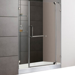 Vigo - 48in.  Frameless Shower Door 3/8in.  Clear Glass Brushed Nickel Hardware with Wh - Experience fine quality combined with superior design in a VIGO frameless shower door with matching 48in.  x 36in.  shower base.