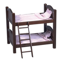Guidecraft - Guidecraft Espresso Doll Bunk Bed - Guidecraft - Doll Furniture - G98117 - Our heirloom-quality Doll Furniture Collection is the perfect play-time ensemble. Oversized bunk bed is perfect for doll sleepovers. Made of hardwood solids each piece is available in both natural and espresso finishes.